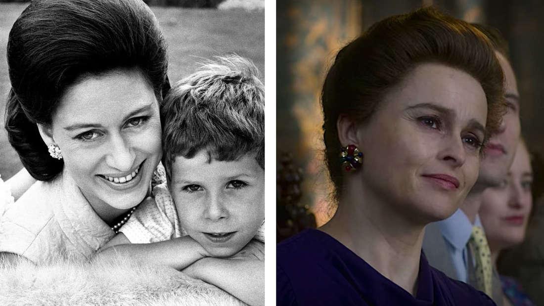 """Prinzessin Margaret mit ihrem Sohn David in den 60er Jahren vs. Prinzessin Margaret in """"The Crown"""""""