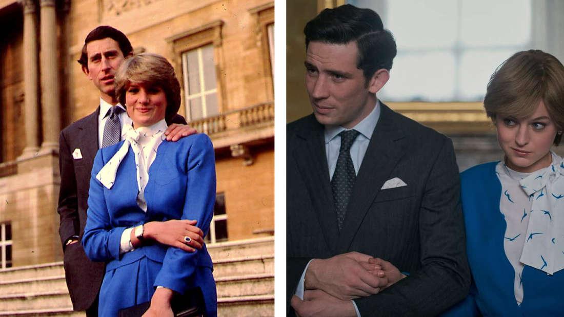 """Prinz Charles und Prinzessin Diana und ihre Darsteller in den exakt selben Outfits in """"The Crown""""."""