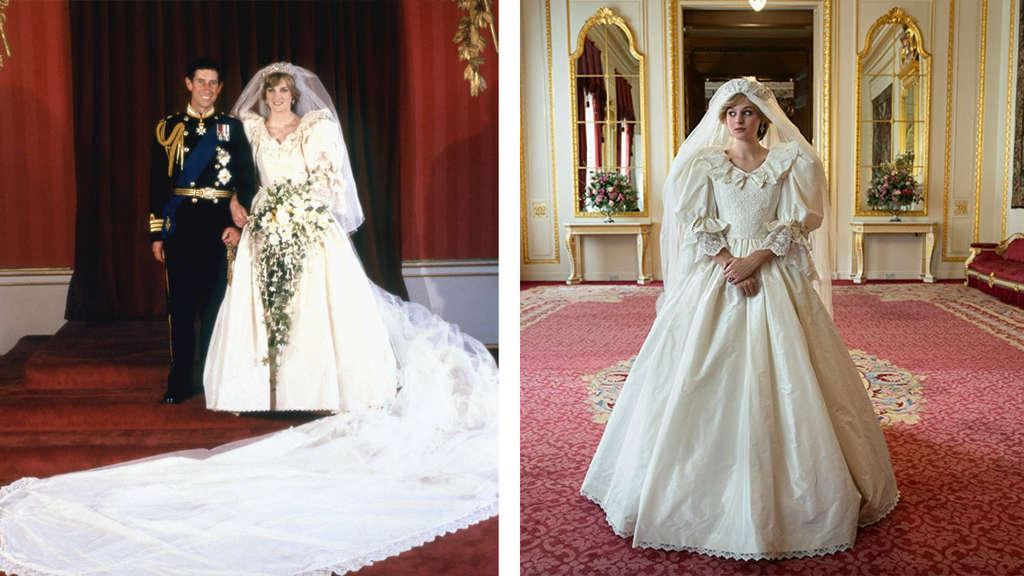 """Diana bei ihrer Hochzeit mit Prinz Charles vs. """"The Crown"""""""