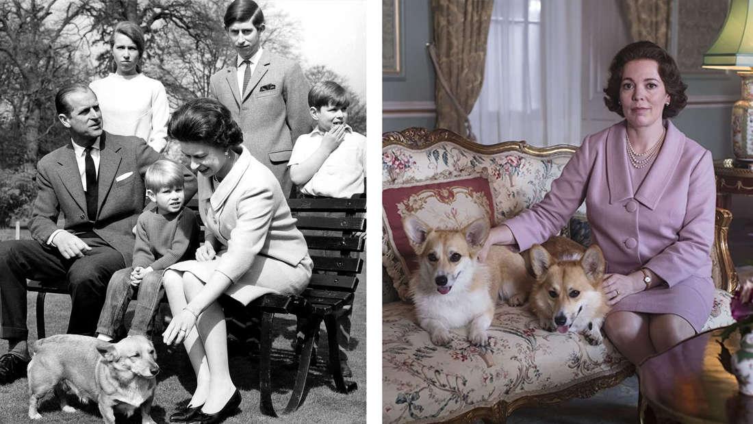 """Ein Familienfoto der Windsors: Queen Elizabeth, Prinz Philip und ihre Kinder 1968, zusammen mit ihrem Corgi. Im Vergleich Queen Elizabeth in """"The Crown"""" mit zwei Corgis."""