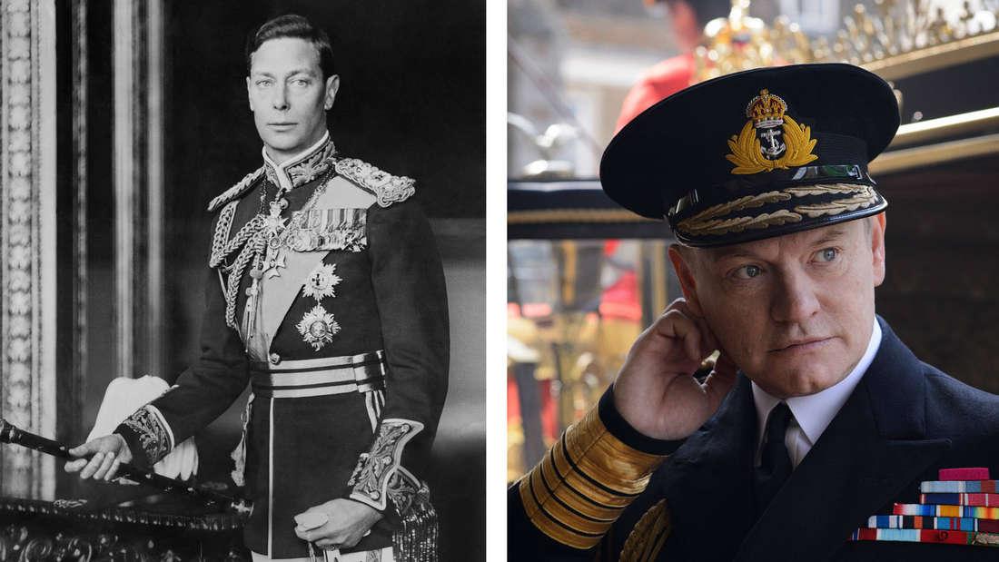 """Ein Portrait von King George VI. in Uniform vs. King George in """"The Crown"""" auf der Hochzeit seiner Tochter."""