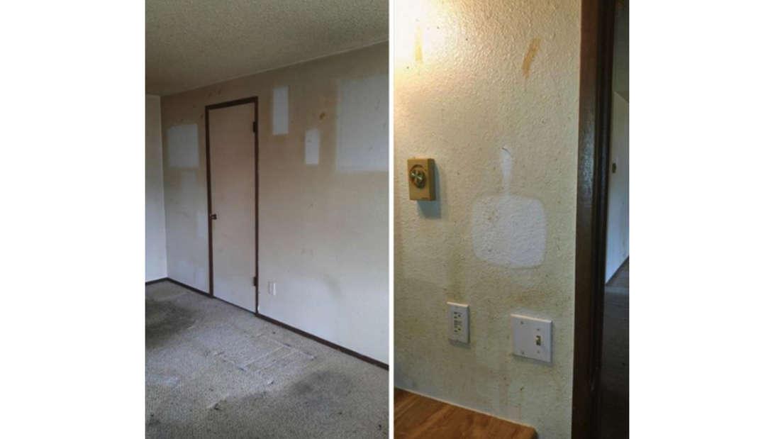 Zwei Bilder von Wänden, die zeigen, wie gelblich die Wände durch den Zigarettenqualm geworden sind