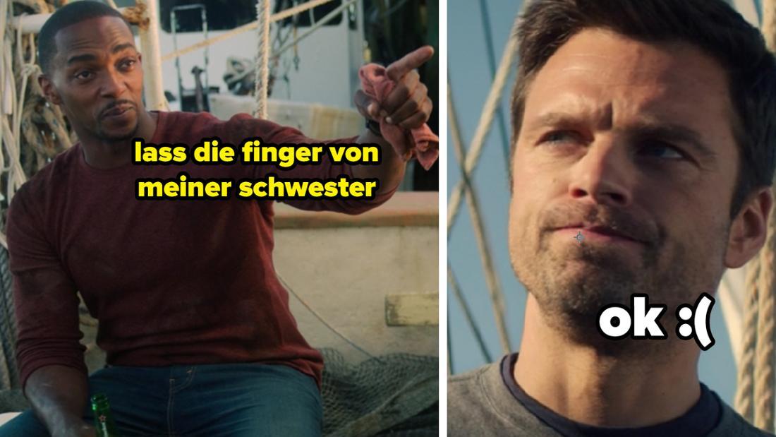 """Sam Wilson sagt Bucky Barnes in """"The Falcon and The Winter Soldier"""", dass er die Finger von seiner Schwester lassen will, worüber Bucky traurig ist."""