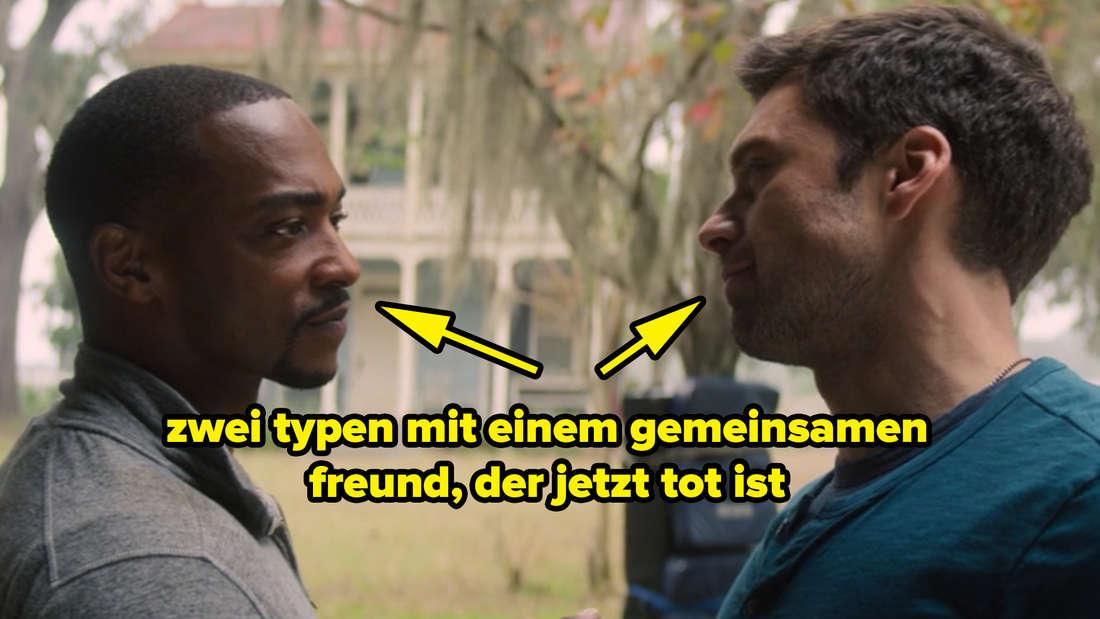 """Sam und Bucky, die sich in """"The Falcon and The Winter Soldier"""" ansehen. Auf dem Bild sind zwei Pfeile, die jeweils auf die beiden zeigen und darunter steht """"zwei typen mit einem gemeinsamen freund, der jetzt tot ist."""""""