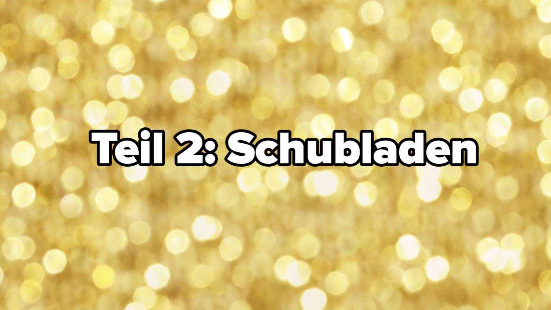 """Ein gelber glitzernder Hintergrund, auf dem in weiß """"Teil 2: Schubladen"""" steht"""