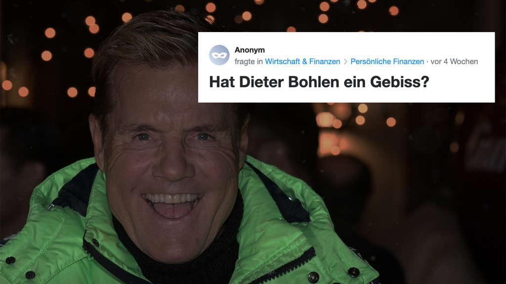 """Ein Screenshot von Anonym, de die Yahoo! Clever-Community fragt: """"Hat Dieter Bohlen ein Gebiss?"""" Auf dem Hintergrundbild ist Dieter Bohlen zu sehen."""