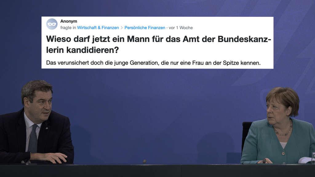 """Ein Screenshot von Anonym, der*die die Yahoo! Clever-Community fragt: """"Wieso darf jetzt ein Mann für das Amt der Bundeskanzlerin kandidieren?"""" Auf dem Hintergrundbild sind Angela Merkel und Markus Söder zu sehen."""