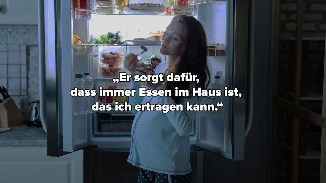 """Eine schwangere Frau, die vor einem vollen Kühlschrank steht und isst. Auf dem Bild steht """"Er sorgt dafür, dass immer Essen im Haus ist, das ich ertragen kann."""""""