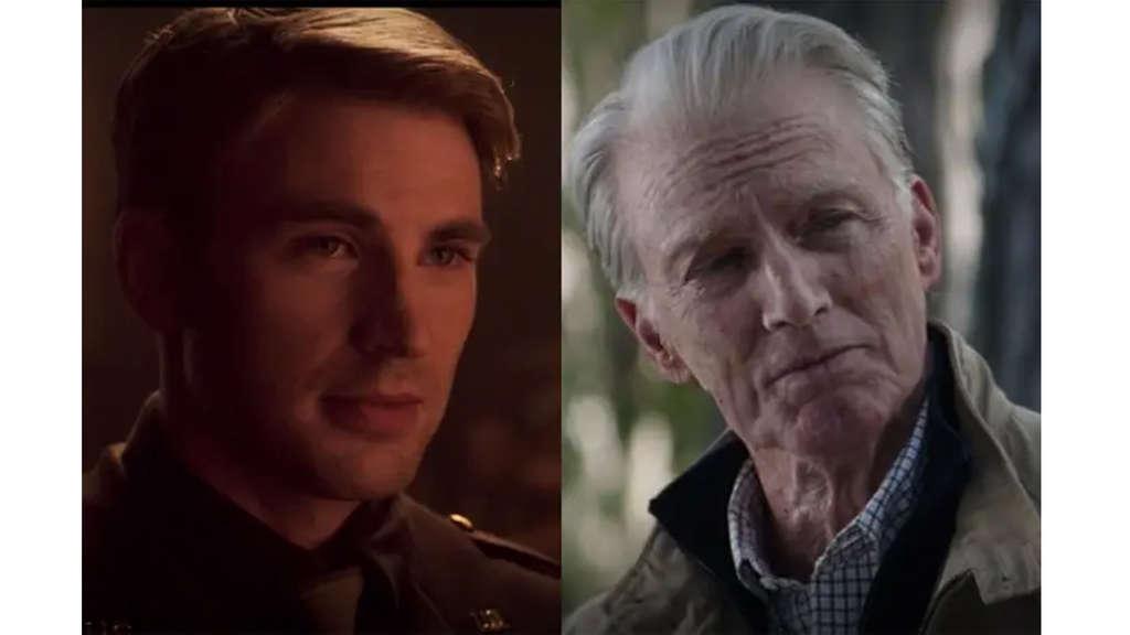 Chris Evans als Captain America in seinem ersten Film und seinem letzten Film als alter Mann.