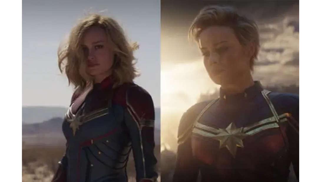 Brie Larson als Carol Danvers in ihrer Captain Marvel-Uniform. Einmal mit langen und einmal mit kurzen Haaren.