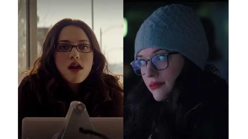 Kat Dennings als Darcy Lewis bei ihrem ersten Auftritt in Thor vs. ihren neuesten in Wandavision.