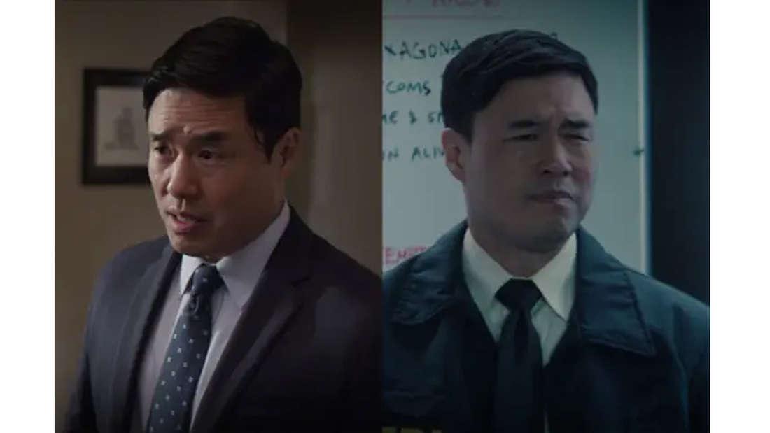 Randall Park als Jimmy Woo auf beiden Bildern im Anzug.