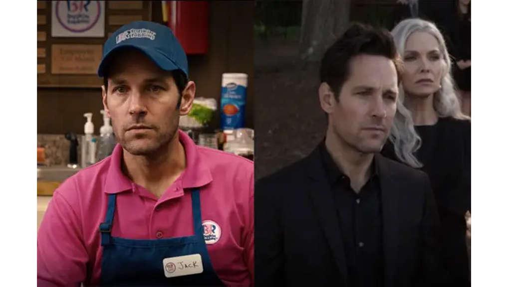 Paul Rudd als Scott Lang. Einmal in Baskin-Robbins-Uniform und einmal im schwarzen Anzug.
