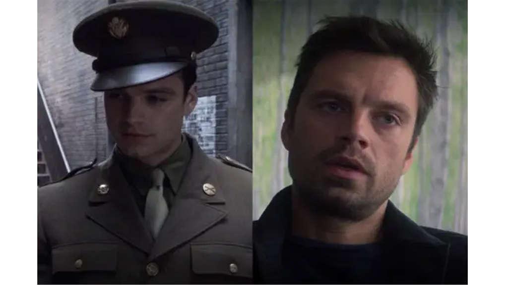 Sebastian Stan als Bucky Barnes. Einmal in Uniform in seiner Zeit als US-Soldat und einmal in Alltagskleidung in The Falcon and the Winter Soldier.