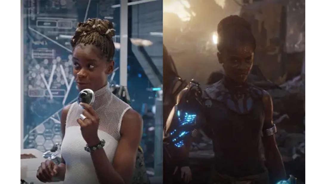 Letitia Wright als Shuri in Black Panther und in ihrer Kampfmontur in Avengers: Endgame.