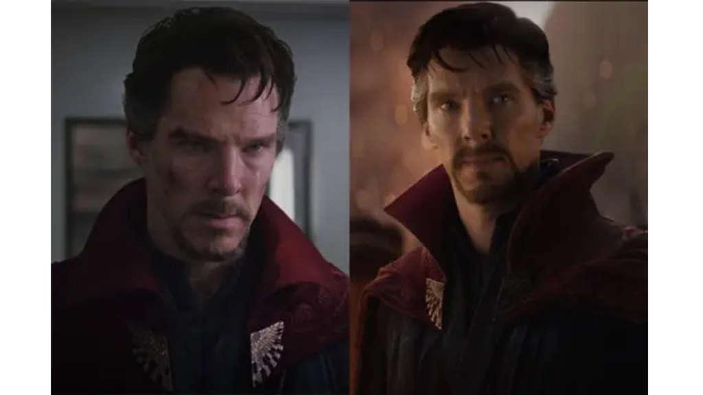 Benedict Cumberbatch als Doctor Strange in seinem blauen Anzug und roten Umhang.