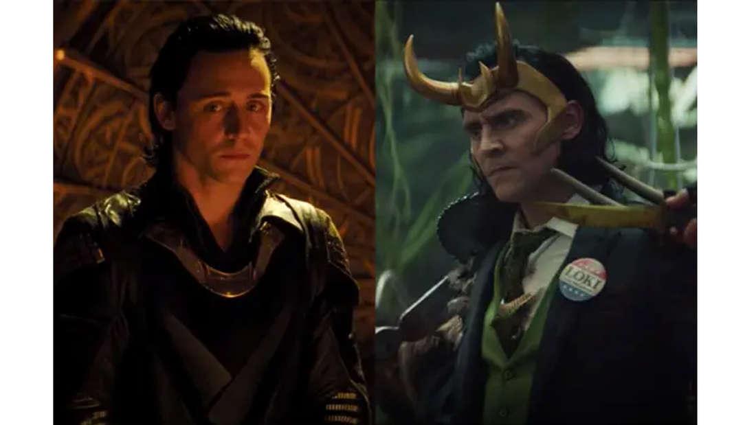 Tom Hiddleston als Loki in Thor und in der neuen Serie Loki, in der er einen Anstecker - der einem Wahlbutton ähnelt - mit seinem Namen darauf trägt.