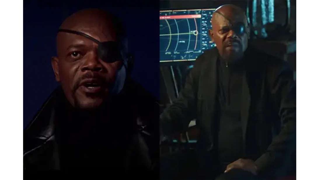 Samuel L. Jackson als Nick Fury mit typisch schwarzen Anzug, Mantel und Augenklappe.
