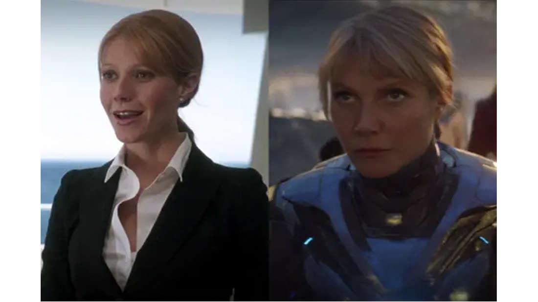 Gwyneth Paltrow als Pepper Potts im ersten Iron Man, in Geschäftskleidung. Und in Avengers: Endgame in ihrem blauen Iron Man-Anzug.