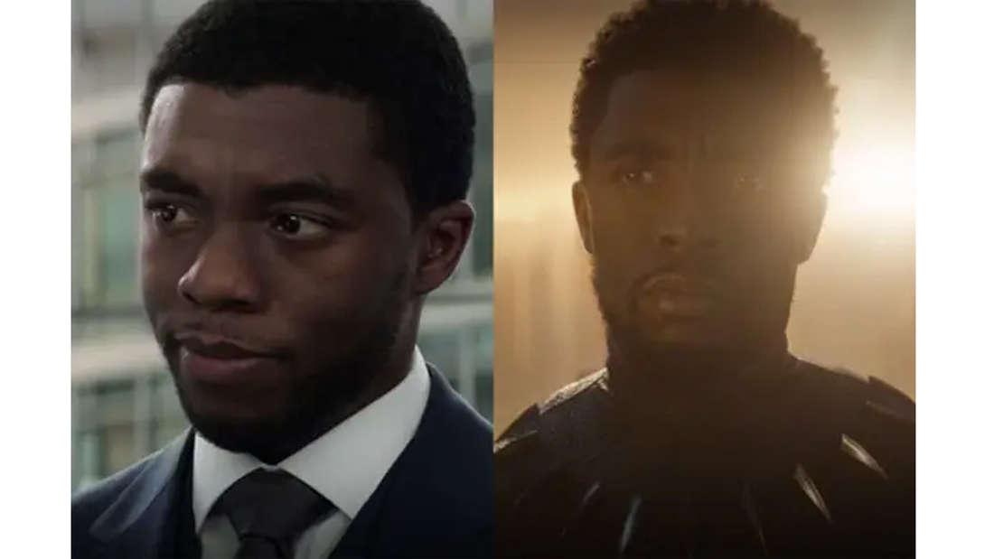 Chadwick Boseman als T'Challa in Captain America: Civil War, damals noch Prinz T´Challa einen Anzug tragend. Und als König und Black Panther in Avengers: Endgame.