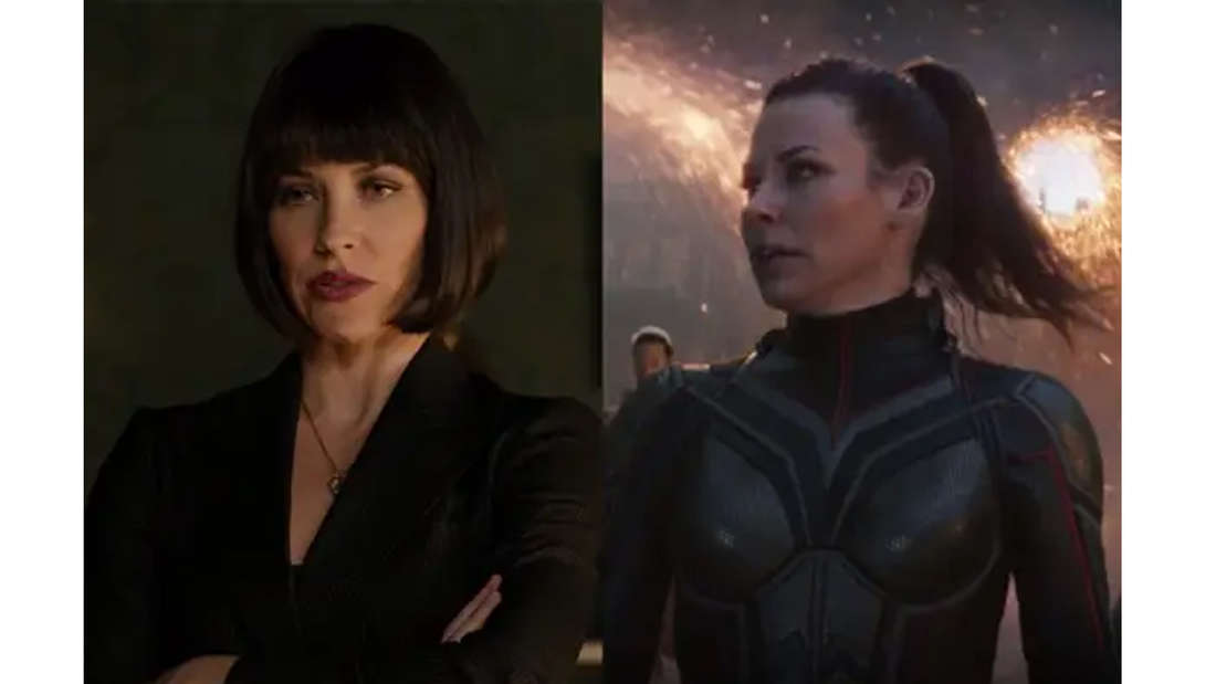 Evangeline Lilly als Hope mit kurzen Haaren in Ant-Man und mit langen Haaren, in ihrem Wasp-Anzug in Avengers: Endgame.