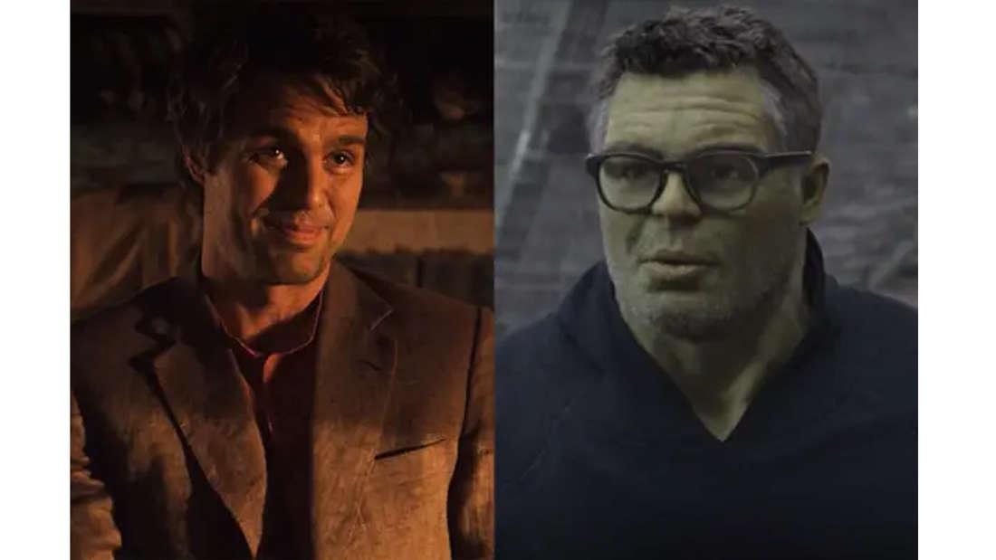 Mark Ruffalo als Bruce Banner und als Bruce Banner in Hulk-Form, mit Brille und im Cardigan.