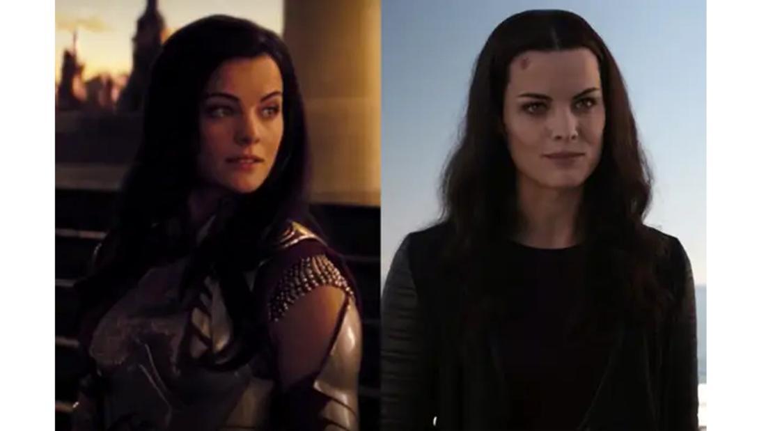 Jaimie Alexander als Lady Sif in ihrer Rüstung im ersten Thor-Film. Und in menschlicher Kleidung in Agents of Shield.