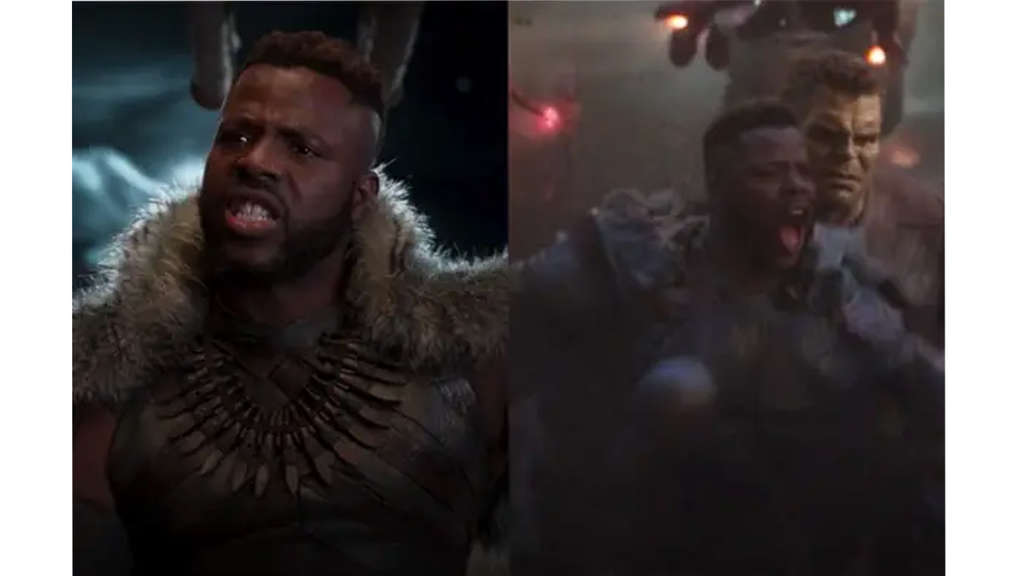 Winston Duke als M'Baku in Black Panther und Avengers: Endgame im Kampf gegen Thanos.