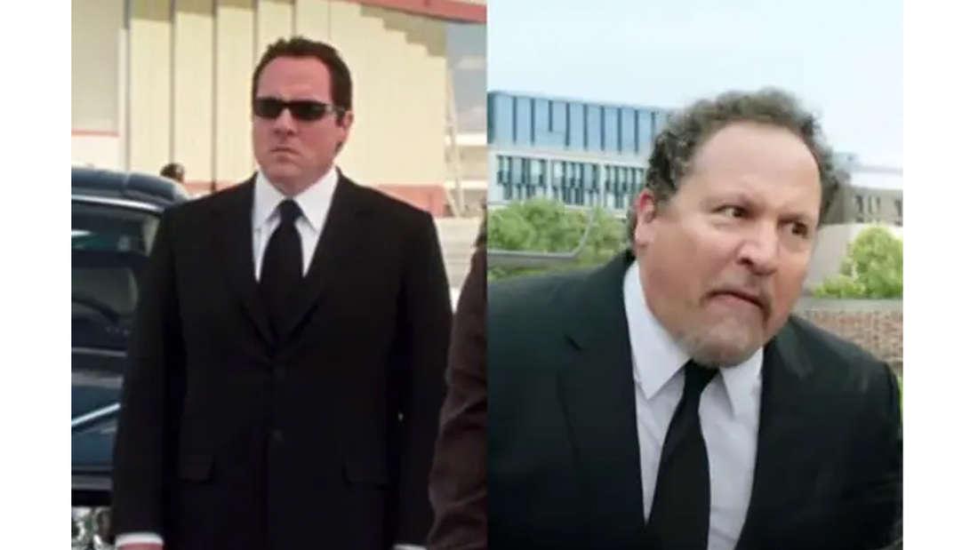 Jon Favreau als Happy Hogan in seinem klassischen Anzug in Iron Man und etwas gealtert in Spider-Man: Far From Home.