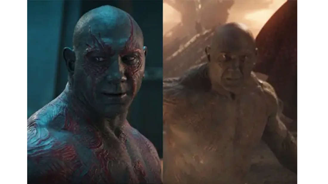 Dave Bautista als Drax in Guardians of the Galaxy und Avengers: Endgame.