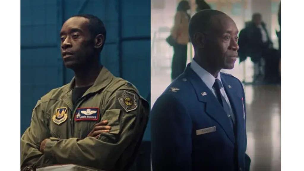 Don Cheadle als James Rhodes einmal im Air Force-Anzug und einmal in Dienstuniform.