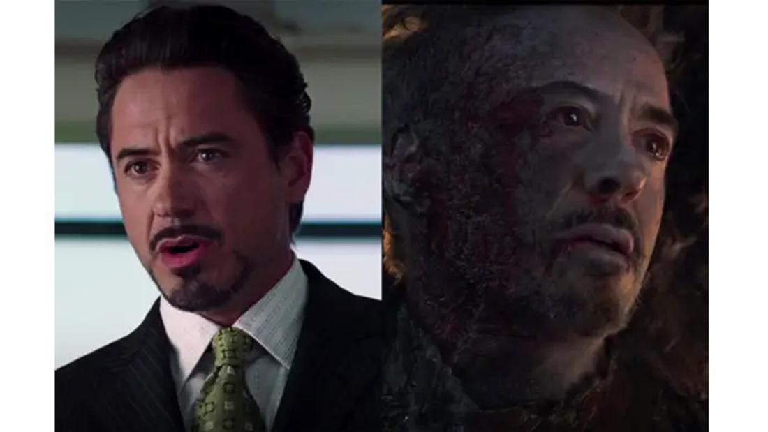 Robert Downey Jr. als Tony Stark bei einer Pressekonferenz und in Avengers: Endgame, schwer verletzt nach dem Schnippen mit dem Infinity-Handschuh.