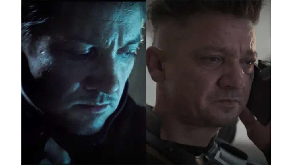 Jeremy Renner als Clint Barton in seinem Hawkeye-Anzug.