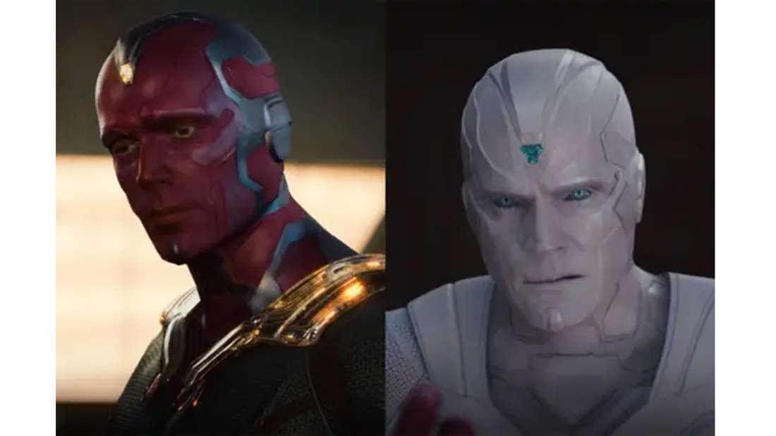 Paul Bettany als Vision in Avengers: Age of Ultron und in Wandavision komplett in weiß und ohne den Gedankenstein auf der Stirn.
