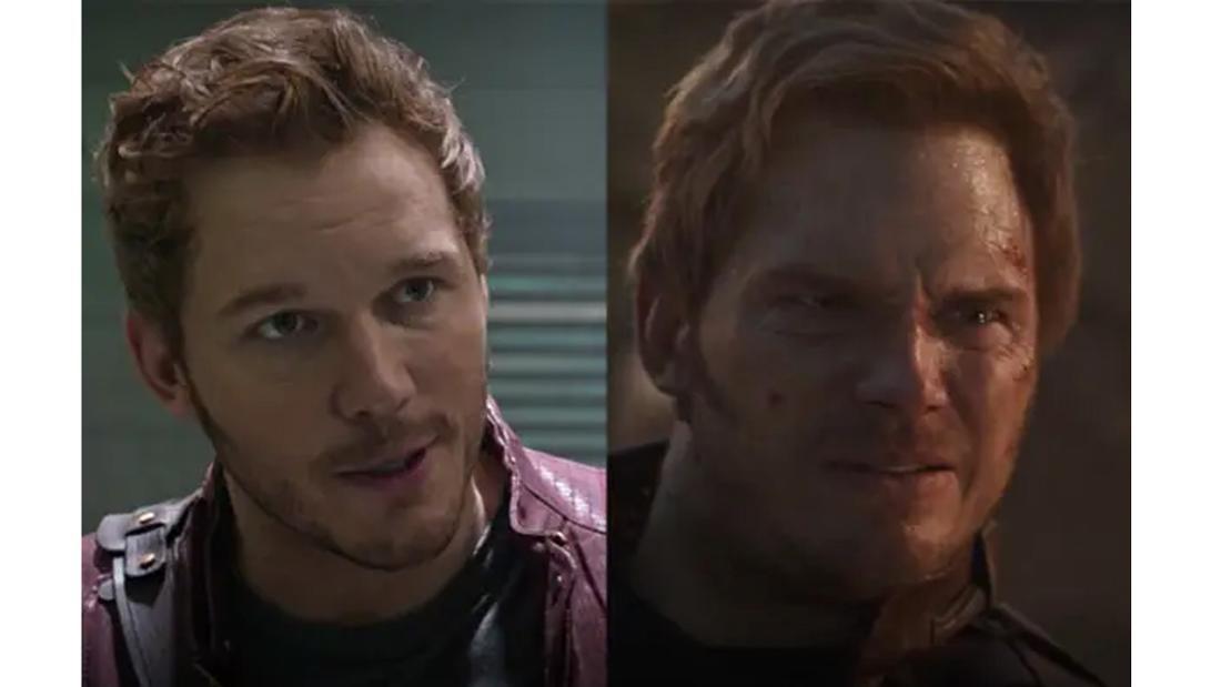 Chris Pratt als Peter Quill in Guardians of the Galaxy und Avengers: Endgame.