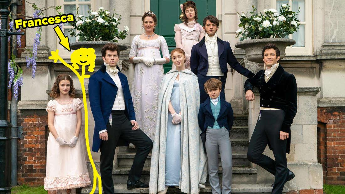 Ein Familienfoto der Bridgerton-Familie. Francesca wurde nachträglich als Strichmännchen ergänzt.