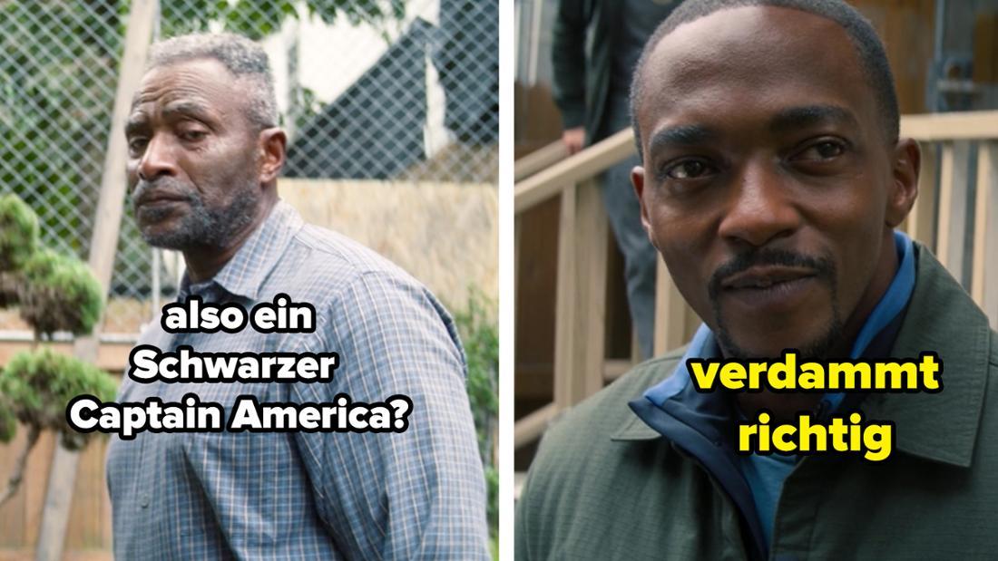 """Isaiah fragt Sam """"also ein Schwarzer Captain America""""? Und Sam sagt """"verdammt richtig."""""""