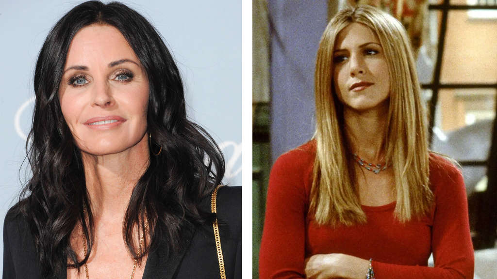 Courteney Cox und Jennifer Aniston als Rachel Green