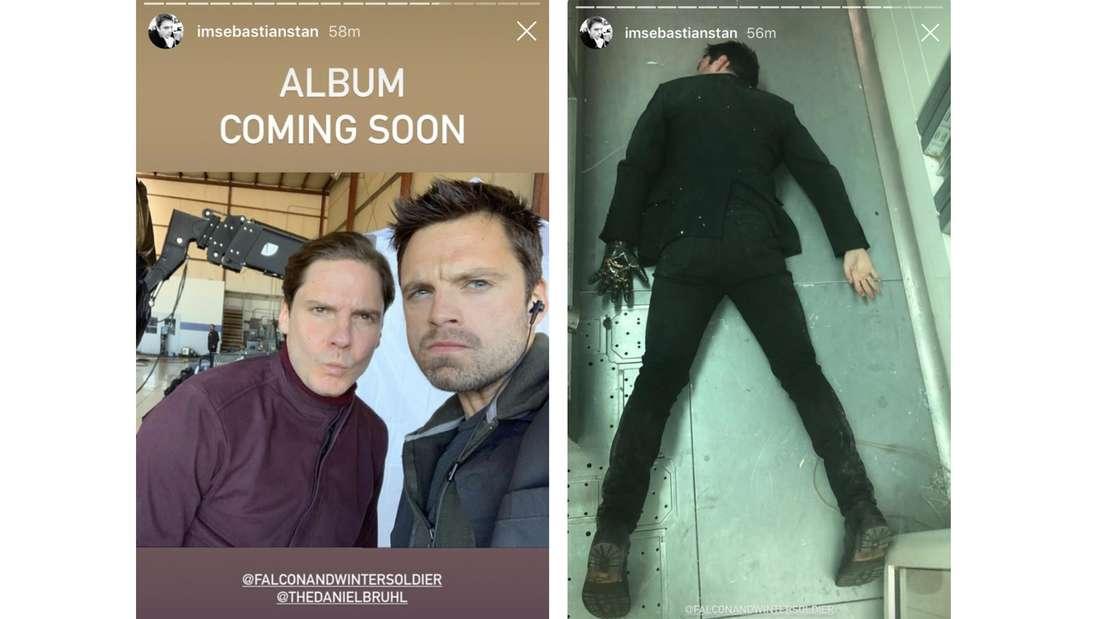 """Sebastian Stan und Daniel Brühl, die nebeneinander stehen. Über ihnen steht """"Album Coming Soon"""" und Sebastian Stan, der auf dem Boden liegt."""