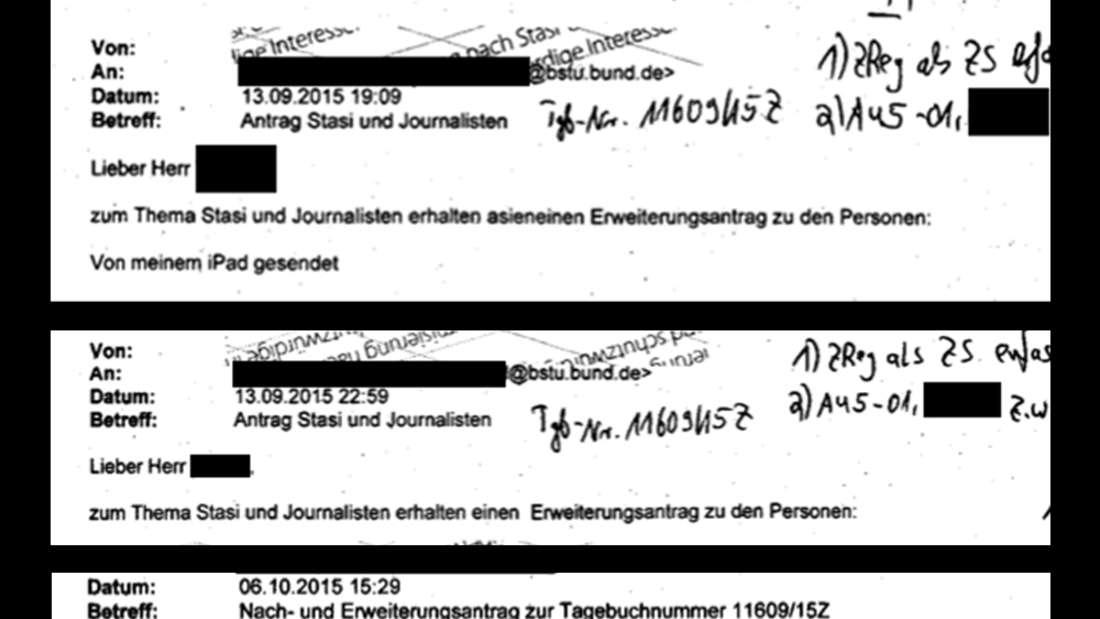 Auszüge aus den Mails der BILD an die Stasi-Unterlagenbehörde