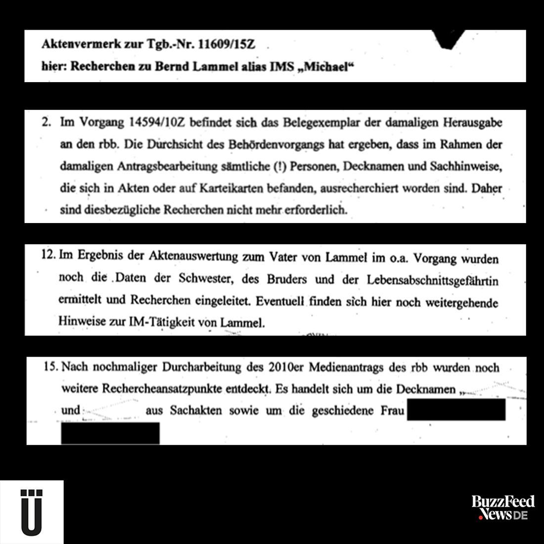 """Nachdem bekannte Personen """"ausrecherchiert"""" sind, leitet der Sachbearbeiter in der Stasi-Unterlagenbehörde noch Recherchen zu Akten über den Vater, die Schwester, den Bruder und die Lebensgefährtin von Bernd Lammel ein."""