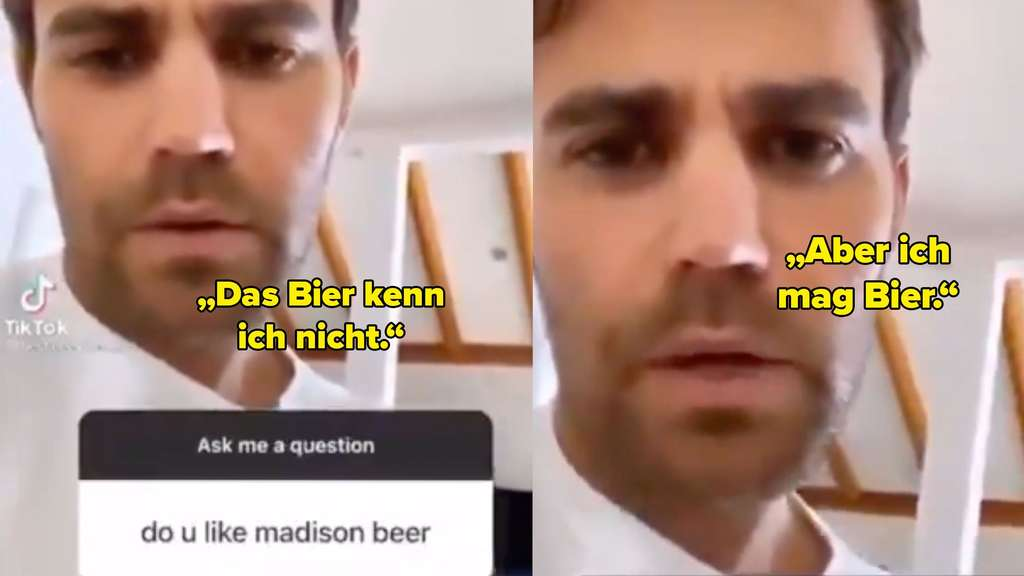 Screenshot aus einem TikTok von Paul Wesley, in dem er gefragt wird, ob er Madison Beer mag. Er antwortet, dass er das Bier nicht kennt, aber Bier mag.