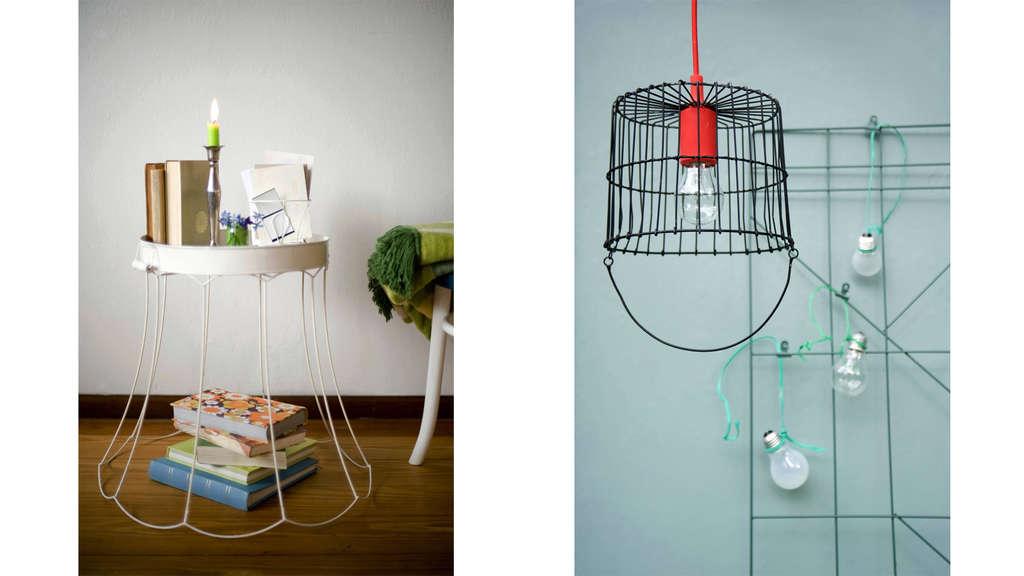 Ein Lampenschirm, der in einem Upcycling-Projekt als Tisch genutzt wird und eine Lampe, bei der ein Korb als Lampenschirm umfunktioniert wurde.