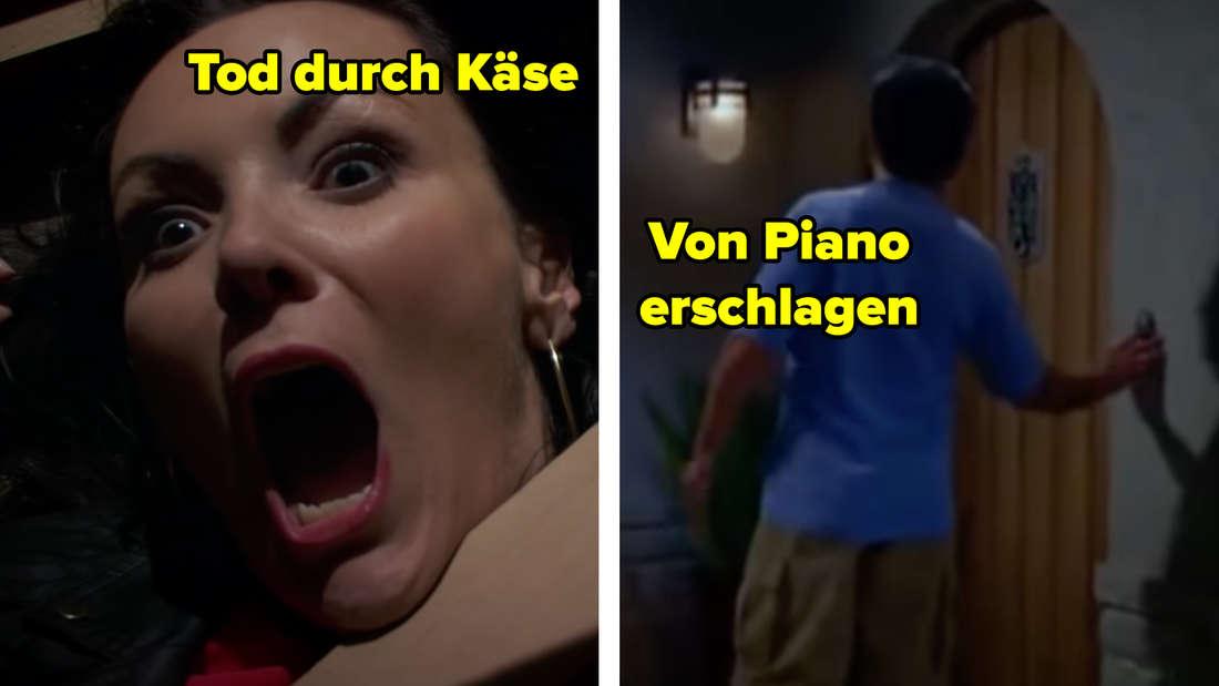 Eine junge Frau schreit auf. Text: Tod durch Käse. Ein Charlie Sheen-Double klingelt an einer Tür. Text: Von Piano erschlagen