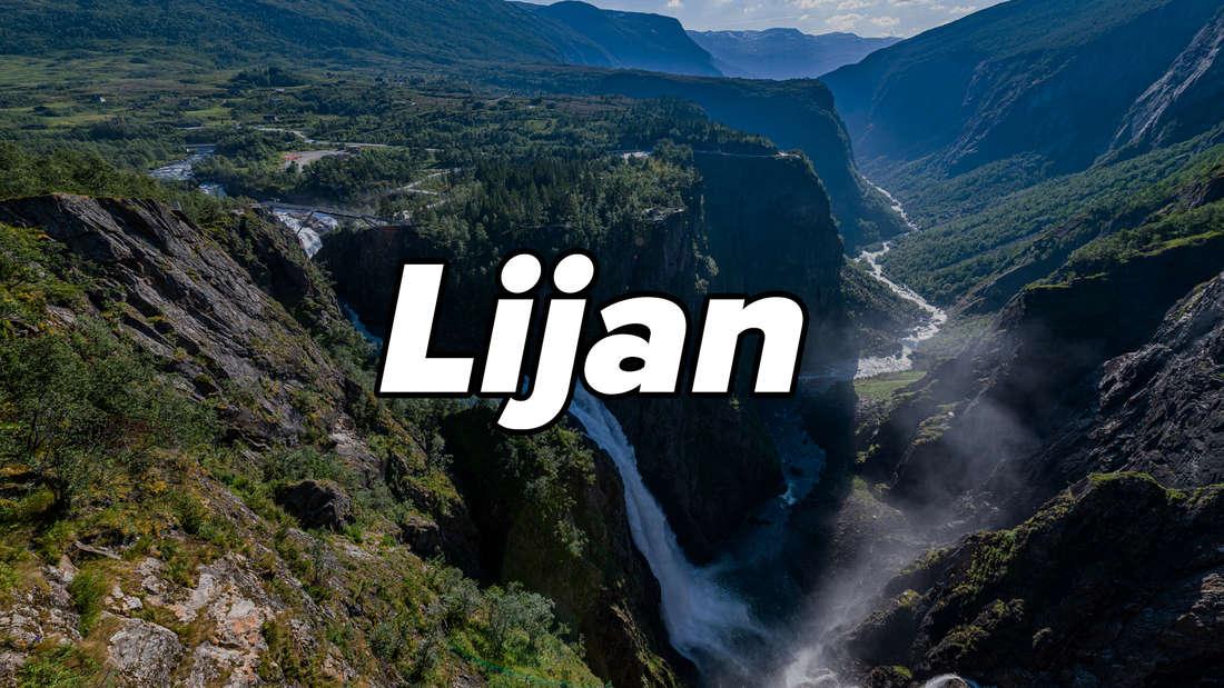 """Wasserfall und Berge am Eidfjord in Norwegen. Auf dem Bild steht """"Lijan""""."""