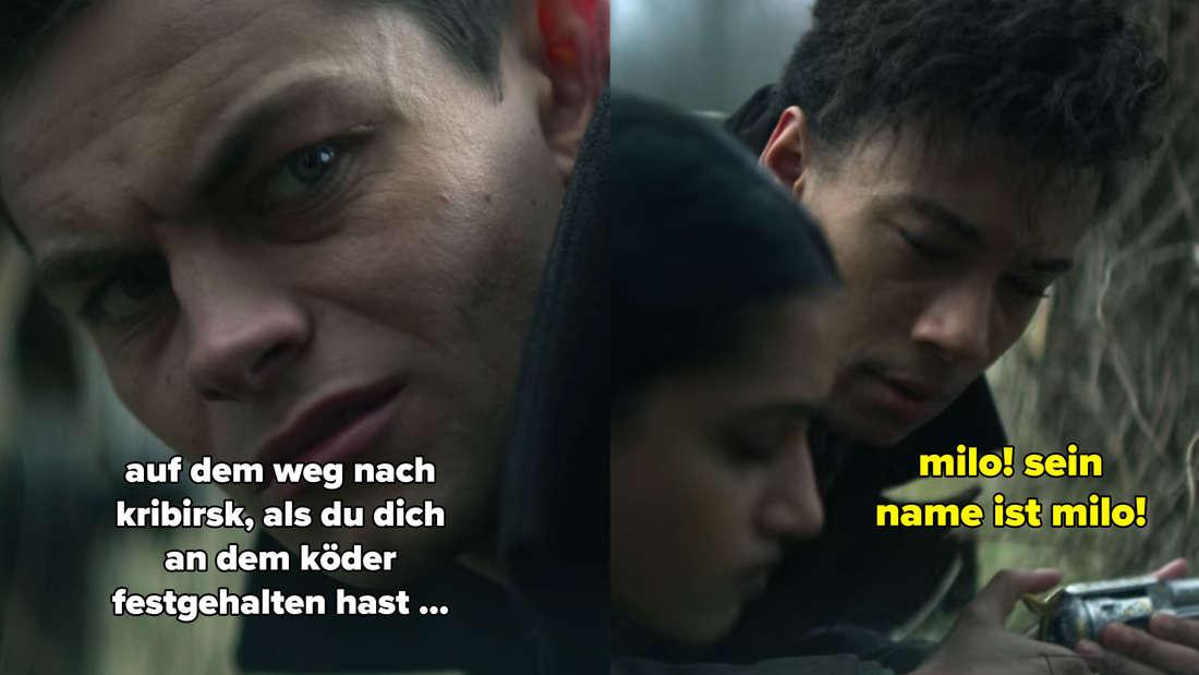 Kaz spricht davon, dass Jesper sich am Köder festgehalten habe. Der weist ihn daraufhin, dass dessen Name Milo ist.