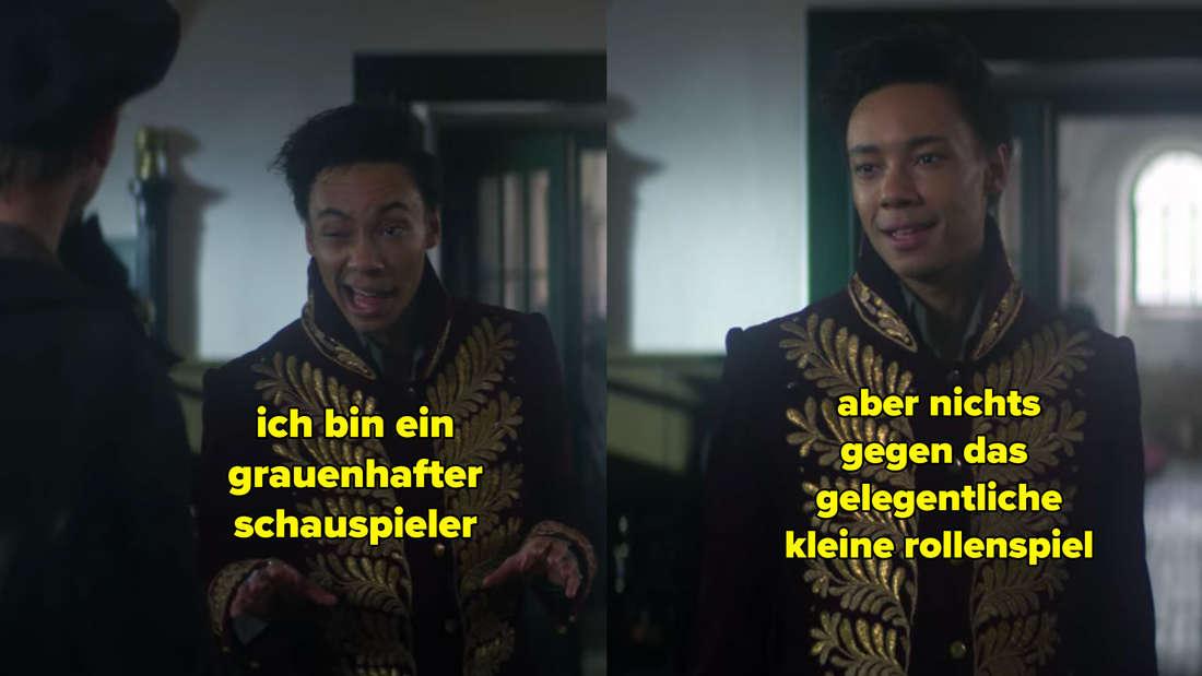 Jesper erklärt dem Stallburschen, er sei ein grauenhafter Schauspieler, habe aber nichts gegen Rollenspiele einzuwenden.