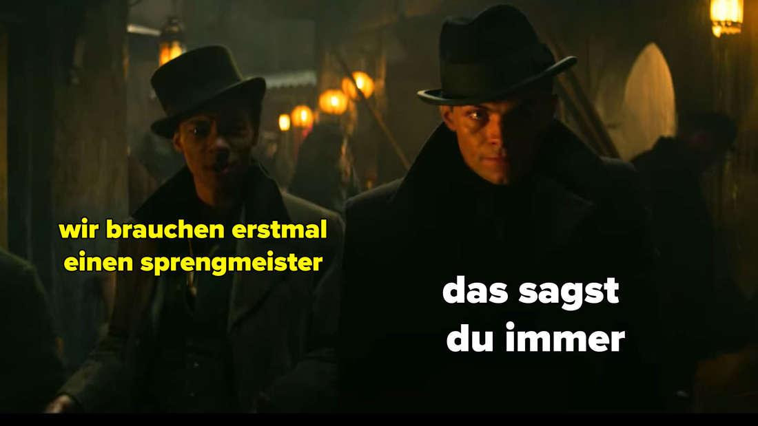 Jesper sagt zu Kaz, sie bräuchten erstmal einen Sprengmeister, was er wohl immer behauptet.