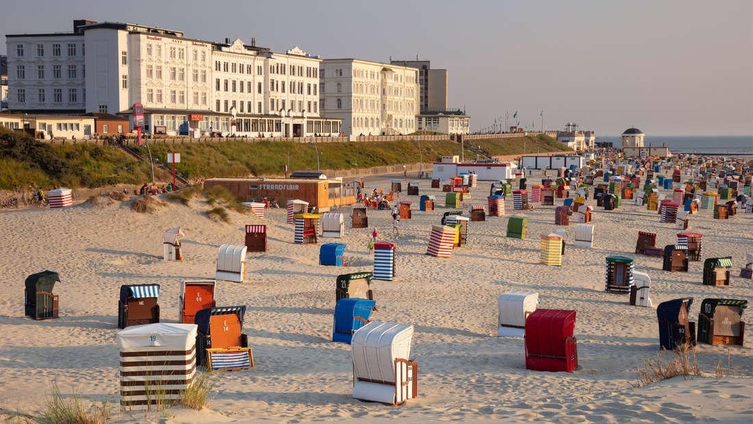 Hauptstrand auf Borkum, Ostfriesland, der in das Abendlicht getaucht ist. Es stehen sehr viele Strandkörbe am Strand und in der Ferne ist das Meer zu sehen. Außerdem ist ein länglicheres weißes Gebäude zu erkennen.