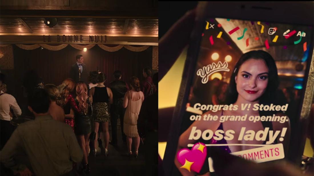 Die Eröffnungsparty des La Bonne Nuit und ein Screenshot von Cheryls Insta-Story, in der sie Veronica gratuliert.